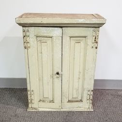 Small White-painted Two-door Cupboard