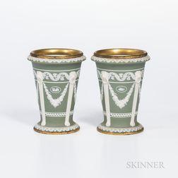 Pair of Brass-mounted Wedgwood Green Jasper Dip Vases