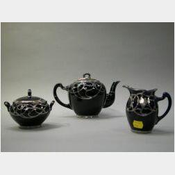 Three-Piece Lenox Silver Overlay Cobalt Glazed Porcelain Tea Set.