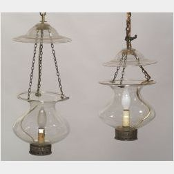 Pair of Colorless Free Blown Glass Suspension Lamps