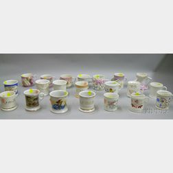 Collection of Twenty-one Late Victorian Porcelain Shaving Mugs, Moustache Cups,   and Mugs