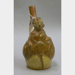 Moche Pottery Figural Stirrup Vessel