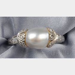 Art Deco Platinum, Pearl, and Diamond Ring
