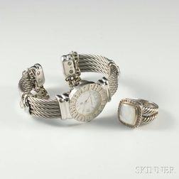 Sterling Silver Lady's Philippe Charriol and Sterling Silver Ring