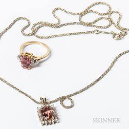 14kt Gold, Tourmaline, and Diamond Necklace and Ring