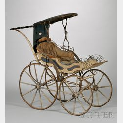 19th Century Polychrome Paint-decorated Wood and Iron Baby Carriage with   Upholstered Seat