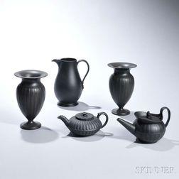 Five Wedgwood Black Basalt Items
