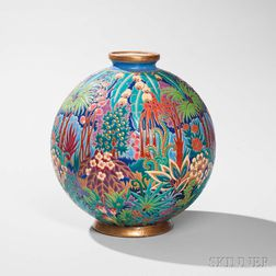 Longwy Faience Art Pottery Vase