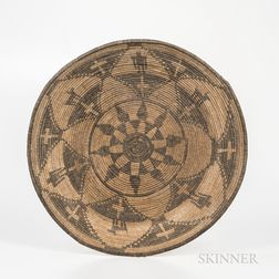 Large Southwest Pictorial Basketry Tray