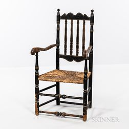 Black-painted Bannister-back Armchair