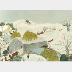 Anna Mary Robertson 'Grandma' Moses (American, 1860-1961)  The Old Bridge in the Valley