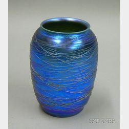 Durand Threaded Blue Iridescent Art Glass Vase