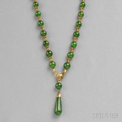 Gold and Nephrite Bead Necklace