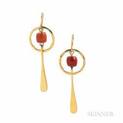Robert Lee Morris 18kt Gold and Coral Earrings