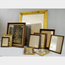 Molded Giltwood Framed Mirror, Eight Small Framed Mirrors, and a Victorian   Wax Floral and Crucifix Still Life Shadow Box