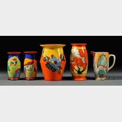 Five Clarice Cliff Items