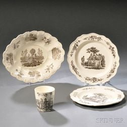 Four Staffordshire Cream-colored Earthenware Items