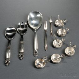 Five Georg Jensen Acorn Pattern Serving Pieces and Six Salts with Spoons