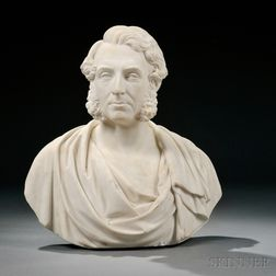 George Edwin Ewing (English, 1828-1884)       White Marble Bust of a Man, Possibly Daniel Macnee