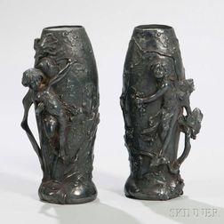 Pair of Art Nouveau Patinated Metal Vases