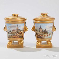 Pair of German Porcelain Topographic Potpourri