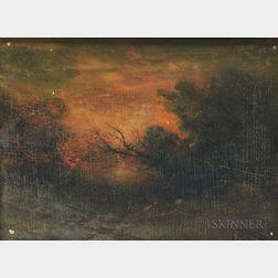 Franklin (Frank) Benjamin DeHaven (American, 1856-1934)      Fiery Winter Sunset