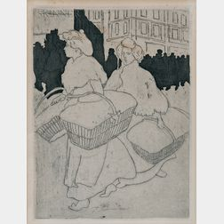 Théophile Alexandre Steinlen (French/Swiss, 1859-1923)      Blanchisseuses reportant l'ouvrage