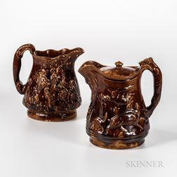 Two Rockingham-glazed Pitchers