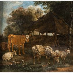 Attributed to Karel Dujardin (Dutch, 1626-1678)      Cows and Sheep Beside a Shed