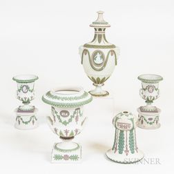 Five Wedgwood Tricolor Jasper Vessels