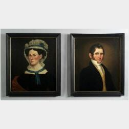 Attributed to Milton W. Hopkins (New York State and Connecticut, 1789-1844)  A Pair of Portraits