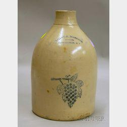 Ballou & Markham, Jobber, Providence, R.I. Cobalt Highlighted and Stenciled Grapevine-decorated Stoneware Jug...