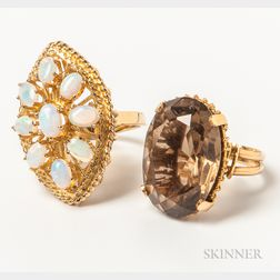 Two Gold Stone-set Rings