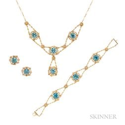 14kt Gold and Blue Zircon Suite
