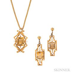 14kt Gold and Citrine Pendant and Earclips