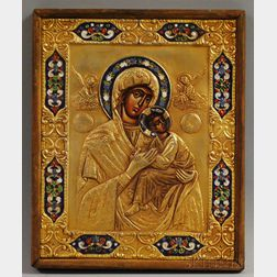 Enameled Gilt-metal Mounted Painted Wood Madonna and Child Icon