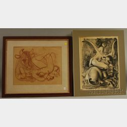 Hans Erni (Swiss, b. 1909)      Two Lithographs:  Woman with Bull