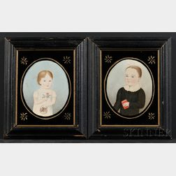 American School, Early 19th Century Pair of Portrait Miniatures of a Little Girl with a Basket of Roses and a Boy Holding a Book, c...