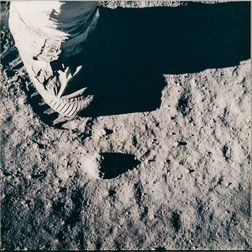 Apollo 11, Astronaut's Boot and Boot Print in Lunar Soil (NASA AS11-40-5880), July 20, 1969.