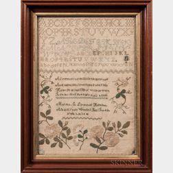 "Needlework Sampler ""Martha C. Straw,"""