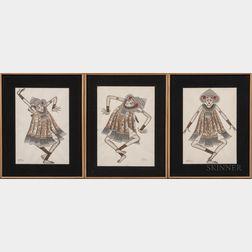 Three Paintings Depicting Tari Baris   Dancers