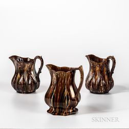 Three Flint Enamel Pitchers
