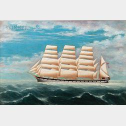 British School, 19th Century      Clipper Ship Under Sail