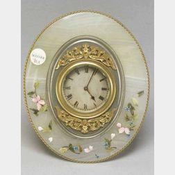 English Agate Boudoir Timepiece