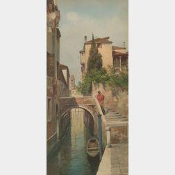 Eugenio Benvenuti (Italian, 1881-1959)    Mother and Child on a Stroll Through Venice.