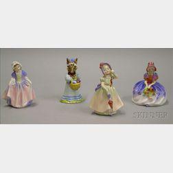 Four Small Royal Doulton Porcelain Figures