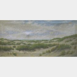 Framed 19th Century Continental School Oil on Canvas of Dunes