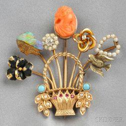 Gold Gem-Set Stickpin Brooch