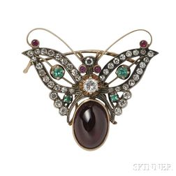 14kt Gold and Gem-set Brooch,