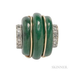14kt Gold, Aventurine, and Diamond Ring